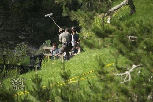 Elijah on the Hobbiton set as Frodo