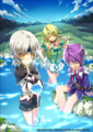 Elsword Girls- in a glowing pool of water