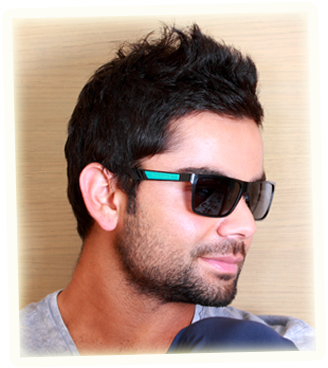 Virat Kohli Hintergrund with sunglasses titled Handsome & cool