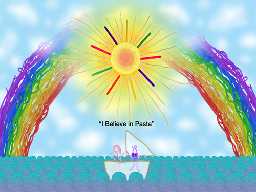 Journey through espaguetis, espagueti land on a flying cow