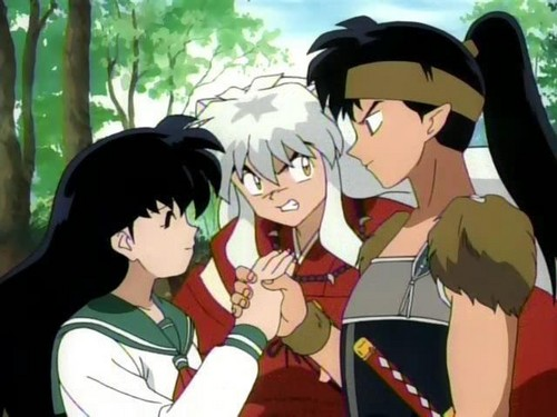 koga and kagome Hintergrund containing Anime titled Kagome X Kouga