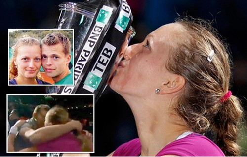 Kvitova embrace with Pavlasek