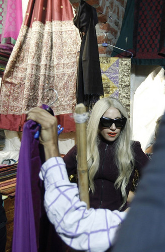 Lady Gaga at the Dilli Haat handicrafts market