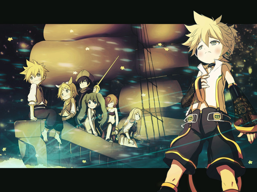 Rin und Len Kagamine Hintergrund possibly containing Anime titled LenXrin and others