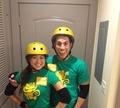 Michael Trevino & Jenna Ushkowitz matching Halloween costumes