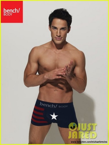 가장 핫한 남자배우 바탕화면 containing a hunk, a six pack, and swimming trunks titled Michael Trevino: Shirtless for Bench Underwear!
