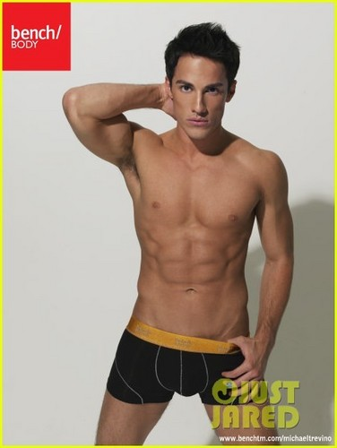 actores más guapos fondo de pantalla containing a six pack, a hunk, and ropa interior titled Michael Trevino: Shirtless for Bench Underwear!