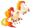 Rapidash and Ponyta