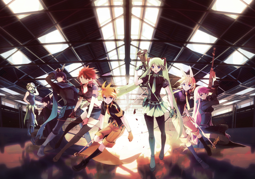 Rin und Len Kagamine Hintergrund probably with a konzert and a sign called Rin and Len (and the others)
