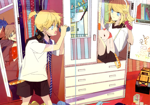 Rin und Len Kagamine Hintergrund probably with a dressing tabelle entitled Rin and Len (and the others)