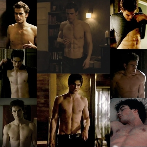 Damon and Stefan Salvatore wallpaper containing a hunk, a six pack, and swimming trunks called Shirtless Salvatore.