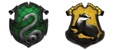 The final crests of Hufflepuff and Slytherinn (on pottermore)