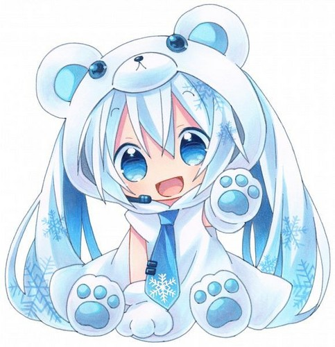 Vocaloids wallpaper titled Yuki Miku bear