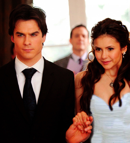 Damon & Elena پیپر وال with a business suit titled delena wedding