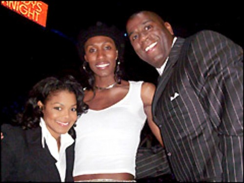 janet jackson fondo de pantalla containing a business suit entitled janet jackson with lisa leslie and magic johnson