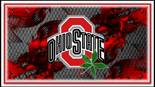 red block o ohio state with buckeye leaf