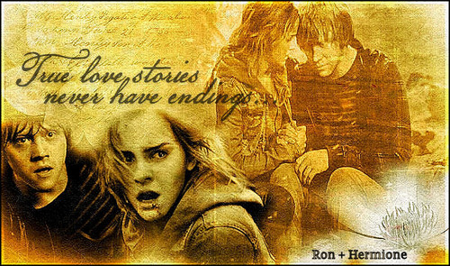 Hermione and Ron wallpaper possibly with anime titled rh