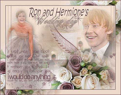 Hermione and Ron 壁纸 probably containing a bouquet and a bridesmaid titled rh