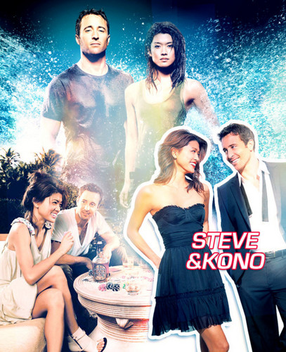 Steve and Kono kertas dinding possibly with a hot tub, a bridesmaid, and a makan malam, majlis makan malam dress called Alex&Grace