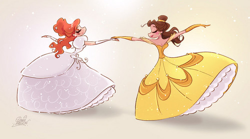 Belle and Giselle dancing