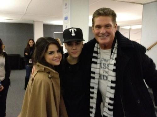 Justin Bieber, Selena Gomez and David Hasselholf