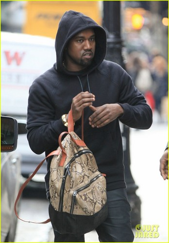 Kanye West: Snakeskin Backpack in NYC