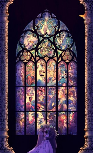 Anime wallpaper with a stained glass window entitled Pokemon: N and Hilda