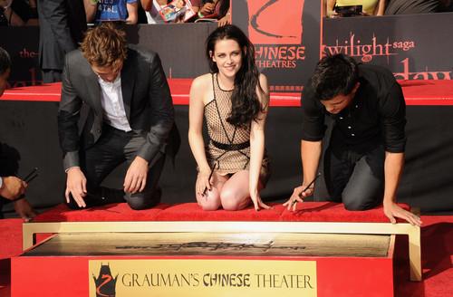 Rob , Kristen , Taylor attending Handprint ceremony