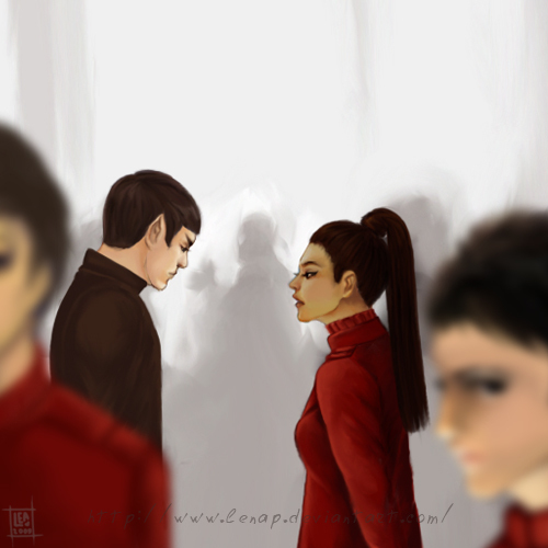 Spock and Uhura talking