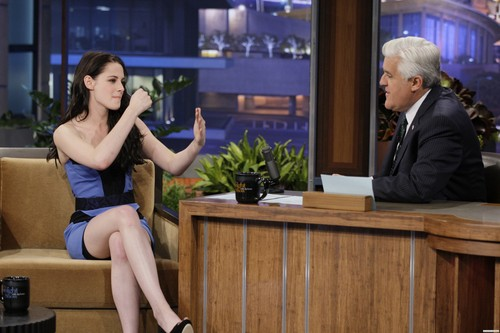 Kristen Stewart wallpaper possibly containing a living room, a family room, and a lectern titled The Tonight Show with Jay Leno - November 3rd, 2011.