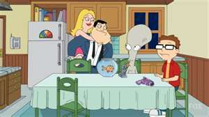 American Dad! wallpaper with a dressing table, a living room, and a family room entitled american dad