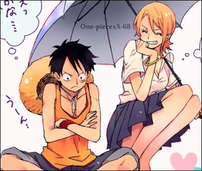 One Piece achtergrond containing anime titled luffy & nami