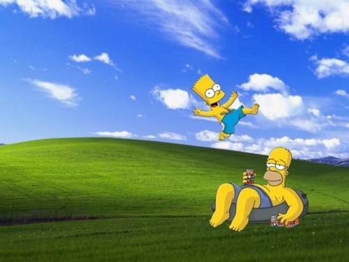 Les Simpsons fond d'écran probably with a guichet, wicket entitled window simpson paper