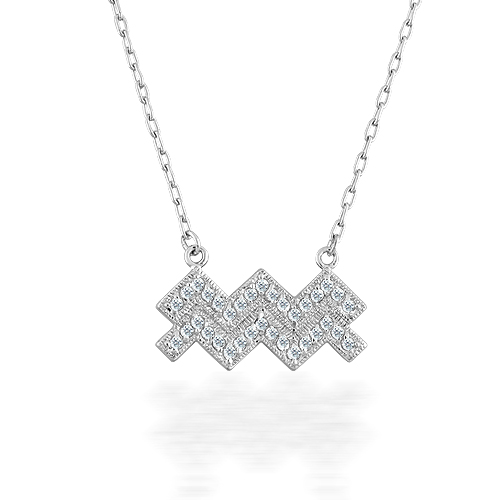 Aquarius symbol Sterling silver ожерелье