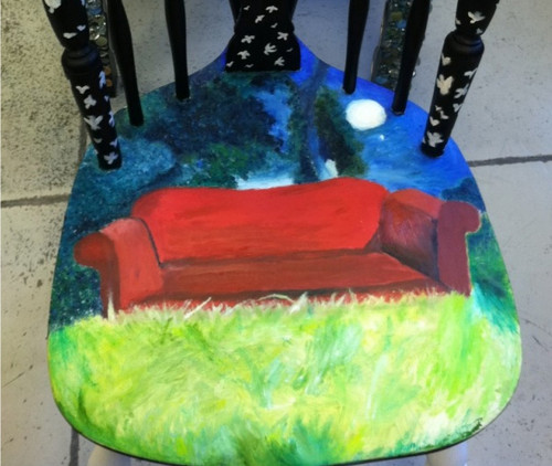 Attempt at painting the All We Know Is Falling cover... onto a chair.
