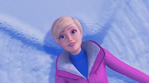 Barbie making a snow angel