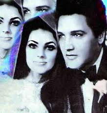 Elvis Presley wallpaper containing a portrait entitled Elvis and Priscill