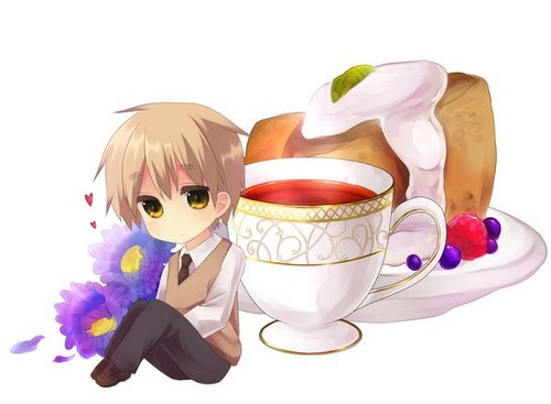 Hetalia: England wallpaper probably containing a bouquet entitled England tea party Chibi
