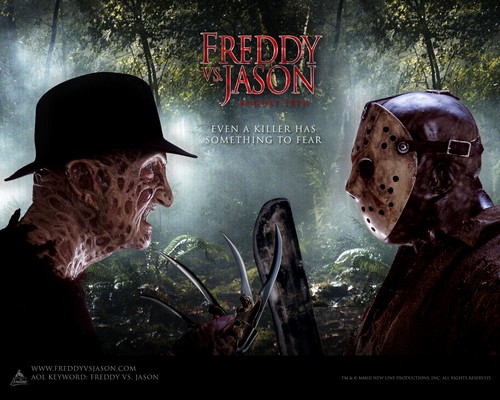 Todays Horror Wallpaper Possibly With A Sign And Anime Entitled Freddy Vs Jason