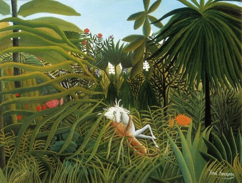 Horse Attacked By Jaguar - Henri Rousseau - fine-art Photo