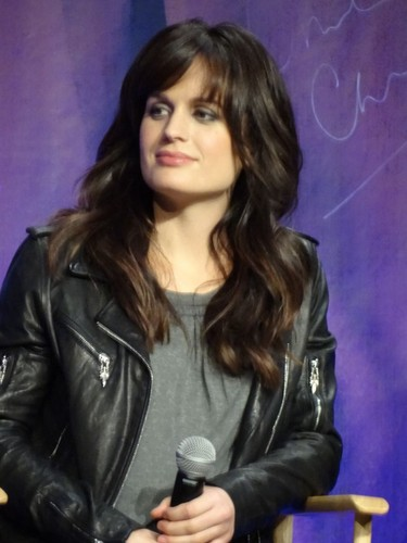 Elizabeth Reaser wallpaper probably containing an outerwear, a hip boot, and a box coat called More pics of Elizabeth at The Official 'Breaking Dawn' Twilight Convention in L.A (Nov. 5)