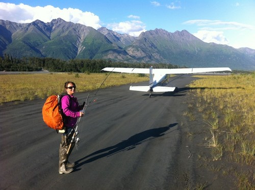 Mountains door Roadside with small Plane & Lady