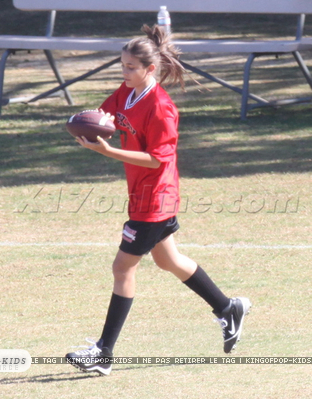 Paris Jackson playing flag football