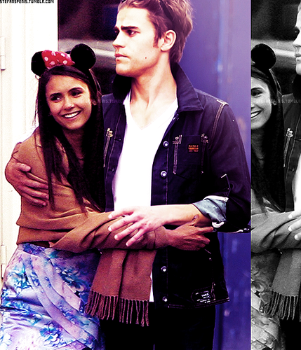Paul Wesley and Nina Dobrev wallpaper probably containing a fedora and a sign called Paul and Nina manip