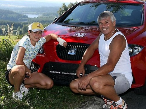 Sablikova , Novak and their red car