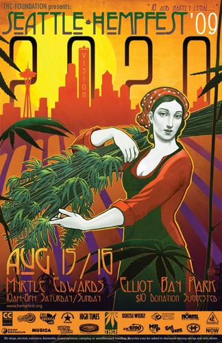 Marijuana wallpaper with anime called Seattle Hempfest 2009 Poster