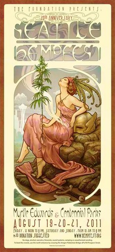 Marijuana wallpaper containing anime titled Seattle Hempfest 2011 Poster