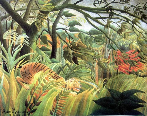 Fine Art wallpaper possibly with a banana titled Tiger in a Tropical Storm - Henri Rousseau