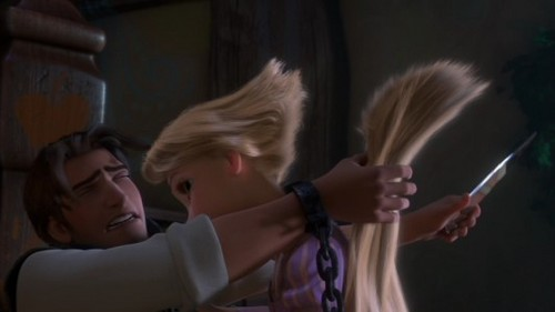 flynn is cutting rapunzel hair!