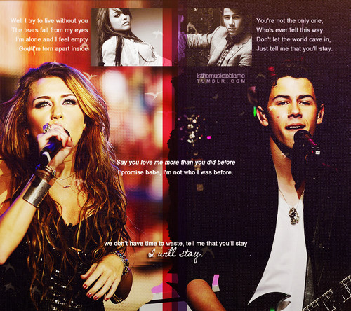 Miley Cyrus and Nick Jonas wallpaper probably containing a concert called niley manip